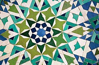 ´Zellige´ (ceramic tiles) at the Hassan II Great Mosque of Casablanca. Morocco.