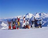 Winter holidays, group, person, children, families, tourists, joy, fun, joke, ski, snowboard, snow shoes, winter sport