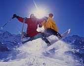 Winter sports, ski, Carving, snowboard, skiing, Snowboard, Two, action, jump, Kleine Scheidegg, Canton Bern, Berne, Be