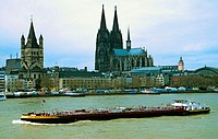 North-Westphalia, Cologne, (Germany). View of the Altstadt with Rhine River, Gross St. Martin and the Dom, Cologne's Gothic cathedral