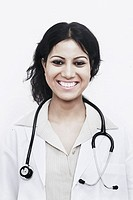Portrait of a female doctor with a stethoscope around her neck