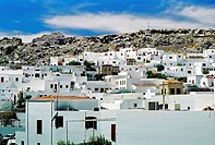 Panoramic picture of the town of Mykonos.