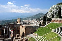 Ruins of old Greek theatre rebuilt in Roman times, Taormina, Sicily, Italy