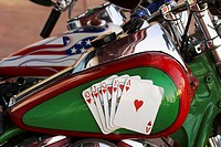 Royal flush on a motorcycle