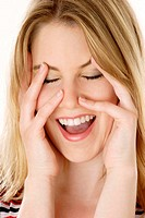 Woman laughing joyfully