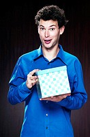 Man holding a box of present
