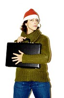 Woman in christmas hat holding tightly to her briefcase