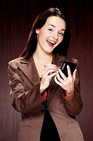 Businesswoman using PDA (thumbnail)