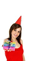 Woman with party hat holding a present