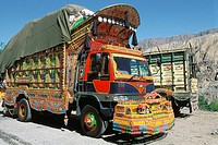 Trucks at Karakoram Highway (paved international road that connects China and Pakistan). North-West Frontiere Province (NWFP), Pakistan