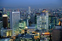 Skyline of Kita business and shopping district, Osaka. Japan