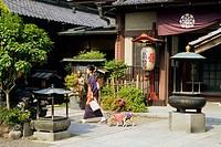 Woman walking her dogs in Asakusa, Tokyo. Japan