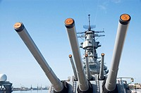 Guns, USS Missouri battleship, Pearl Harbor, Oahu, Hawaii