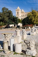 The Saint-Louis cathedral at back. Archeological Museum presenting mosaics, sculptures and other items from the excavations of the ancient city. Carth...