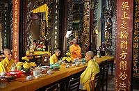 Monks at a Chua Vinh Trang, My Tho, Vietnam