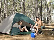 Couple camping in a forest