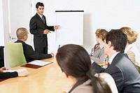 Businessman speaking in meeting