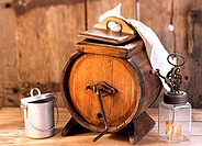 Old wooden butter churn and butter-making utensils