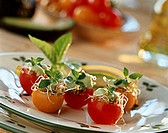 Stuffed cherry tomatoes with sprouts and avocado cream