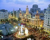 Town Hall Square during 'fallas' fest, Valencia. Comunidad Valenciana, Spain