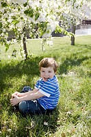 Boy (2-4) sitting in grass under tree, smiling, portrait, close-up