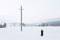 Businessman using mobile phone standing in snow in rural landscape
