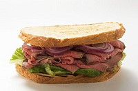 Roast beef and onion sandwich
