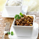 Beef curry with small bowl of basmati rice (Indonesia)