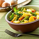 Vegetable curry (potatoes, beans, peas and carrots, India)