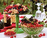 Assorted berries in green bowls