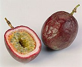 Whole and half passion fruit