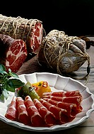 Coppa (air-dried sausage made from cured meat, Italy)