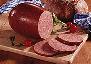 Bierwurst (beer sausage), radishes & farmhouse bread (Bavaria)