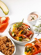 Rice with vegetables and soya mince