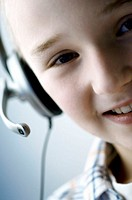 Portrait of a boy wearing a headset