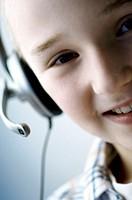 Portrait of a boy wearing a headset