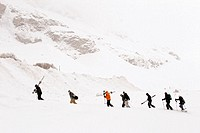 A group of winter sports activists in Val d'Isere, Rhone-Alpe, France