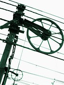 Installations and electrical wiring for local trains and public transport of passengers of the subway network of Valencia. Comunidad Valenciana. Spain...
