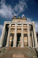 Temple of Antoninus and Faustina (now Church of Santo Lorenzo in Miranda). Roman Forum, Rome, Italy