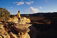 USA, Colorado, Grand Junction, man with mountain bike above canyon