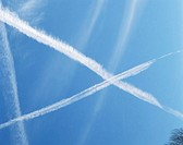Vapour trails in cross shape