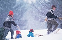Father pulling children (3-6) on sled through snow, mother with tree