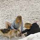 Brother and sister petting dog on gravel beach, elevated view