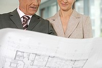 Elderly manager and business woman examining architect's plan