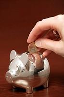Human hand putting a single Euro into a piggybank, close-up