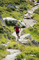 Man running on mountain trail