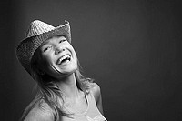 Woman wearing cowboy hat