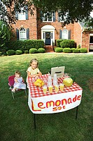 Girls with lemonade stand