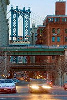 Manhattan Bridge. View from Cadman Plaza, Brooklyn. In forgraound BQE overpass. New York. USA