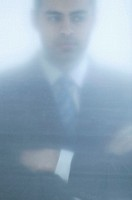 Blurry shot of businessman.